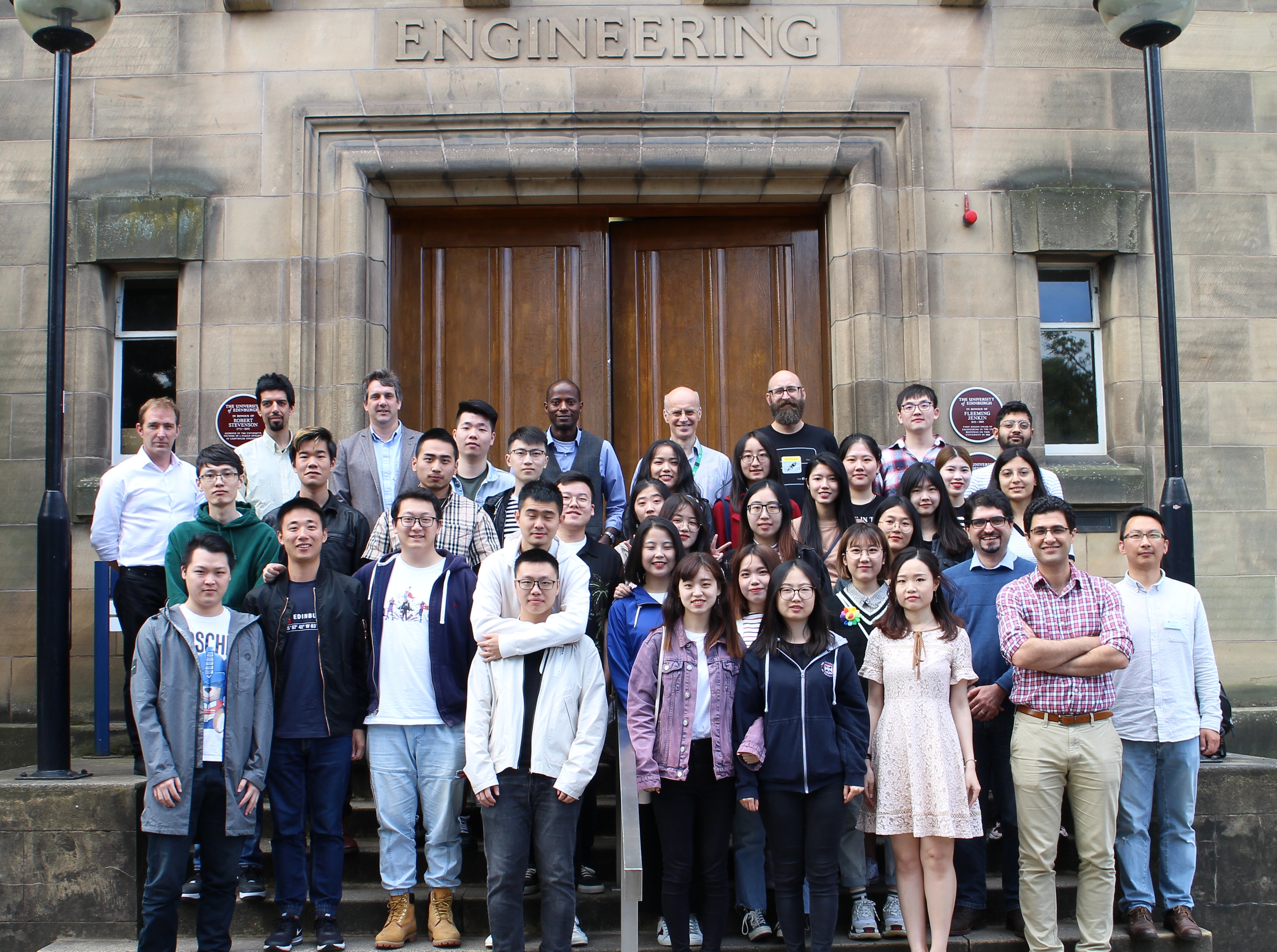 MSc Signal Processing and Communication MSc Students and Lecturers gathered outside the Sanderson Building, University of Edinburgh