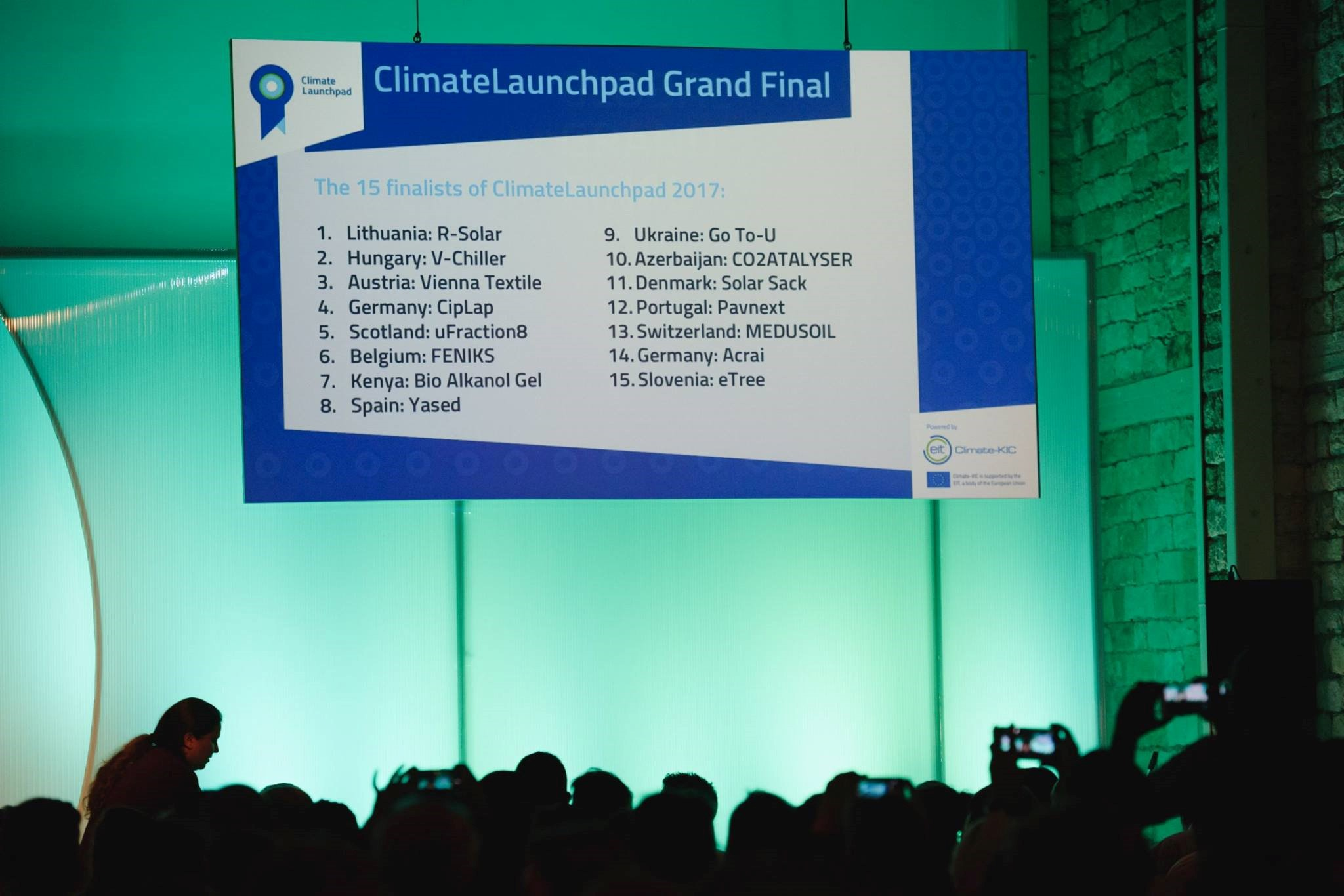 Climate KIC event results slide on projector screen