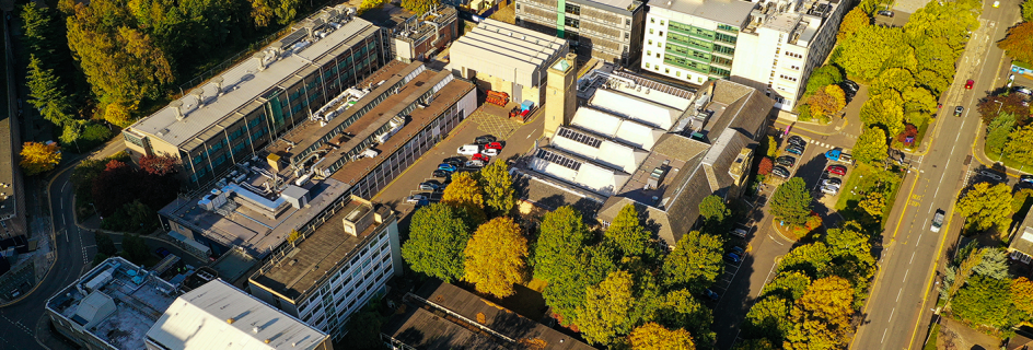 The School of Engineering from the air (Copyright: Dr Simon Smith)