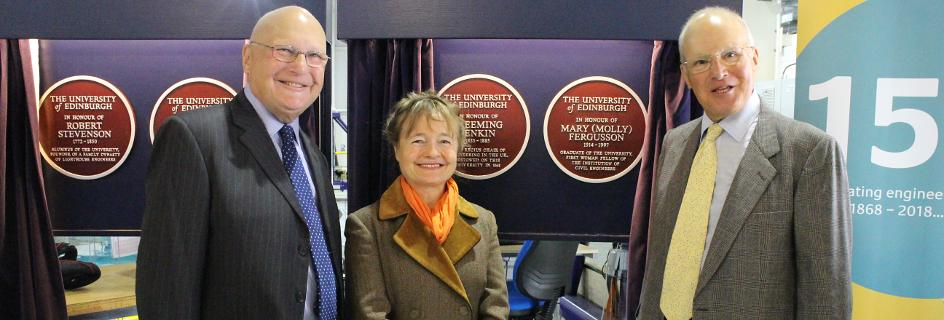 Pip Ayton and the Fergusson brothers unveil commemorative plaques celebrating outstanding individuals from the School's history