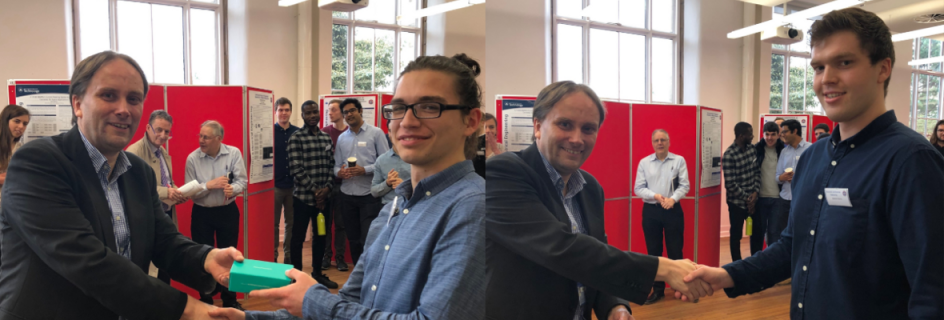 Professor John Thompson presents awards to the two winners, Nikolay Momchev (left) and Martin Stano (right)