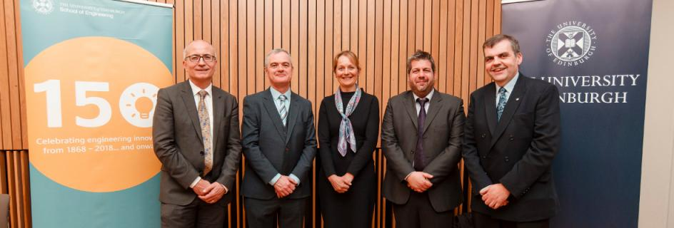 Dr Sotirios Tsaftaris (second from right) with (R-L) Ken Sutherland, President of Canon Medical, Naomi Climer, Vice President of the Royal Academy of Engineering, Conchúr Ó Brádaigh, Head of the School of Engineering, and Charlie Jeffery, Professor of Politics and Senior Vice-Principal of the University