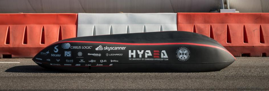'The Flying Podsman': HYPED's 2019 hyperloop pod prototye, at the SpaceX Hyperloop Pod Competition in California