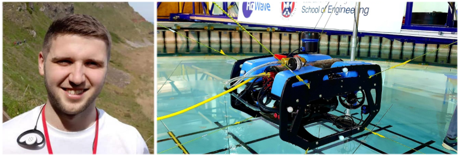 PhD student Kyle Walker (left) won the award to carry out further research on remotely operated underwater vehicles like that shown (right). Image credit: Dr Aristides Kiprakis & the ORCA Hub project)