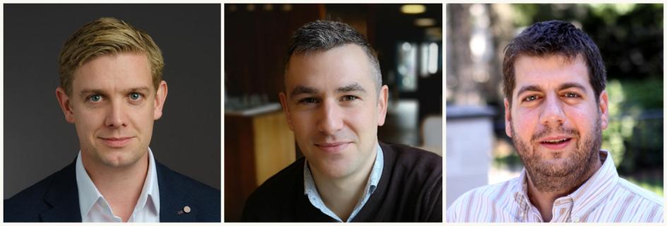 L-R: Dr Adam Stokes, Dr Philip Hands and Prof Sotirios Tsaftaris have won Principal's Innovation Awards