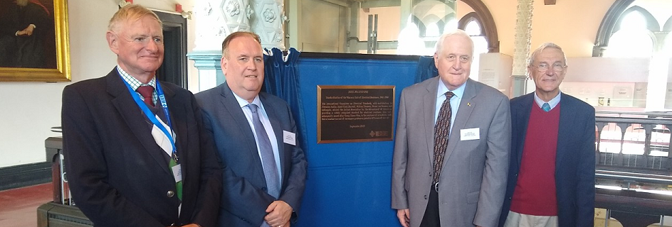 Left to right: Professor Peter Grant (Proposer), Prof Mike Hinchey (IEEE UKRI Chair), Dr Robert Dent (IEEE History Committee Chair), Prof Jose Moura (IEEE President 2019) with the IEEE Milestone Plaque