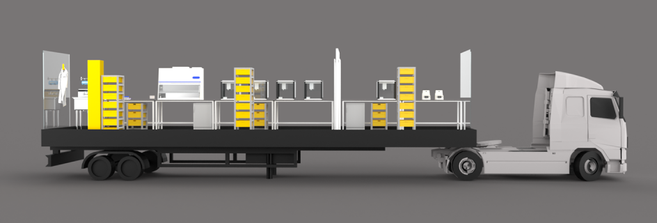 The Covid-19 testing laboratory will be housed in a shipping container, for fast deployment (Credit: OpenCell)