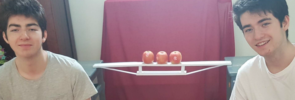 Summer school students Antoine and Alexandre Fromentel with their bridge (centre) constructed from minimal basic materials, in order to support the weight of an apple