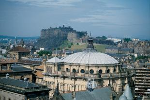 The City of Edinburgh, seen from the air above McEwan's Hall, with Castle in the background