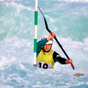 Helen Rogers competing in the GB team trials for her sport, canoe slalom