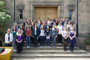 National Women in Engineering Day 2015, group shot in front of the Sanderson Building