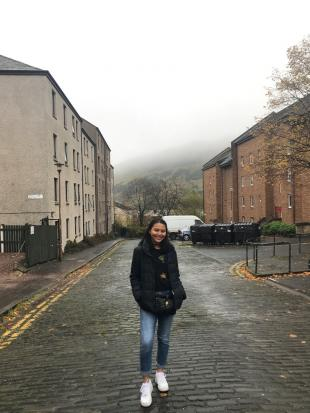 Claire Richard, standing in middle of road, Edinburgh