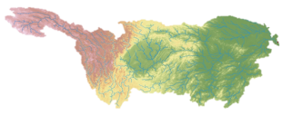 Antony Walker - Digital elevation model and river map (large rivers) of the 2 million km2 Yangtze basin.