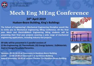 MechEng MEng Mechanical Engineering Conference 2019 poster