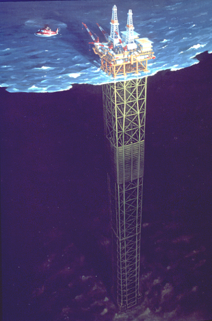 Artistic impression of an oil rig displaying structure above and below water