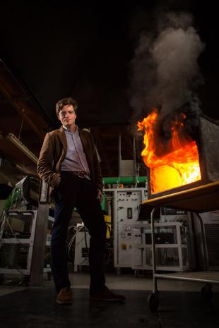 Dr Rory Hadden in the fire laboratory