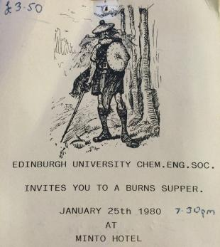 Burns Supper Ticket from 1980