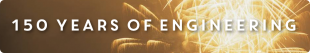 150 years of Engineering white text over photograph of fireworks