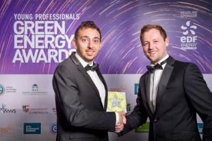 Adrian de Andres accepting his Young Professionals Green Energy Award