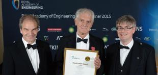 Win Rampen, Stephen Salter and Nial Caldwell collect the MacRobert Award on behalf of Artemis IP