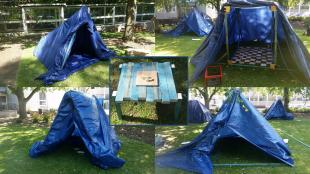 tent designs and the wooden table created by female students during the Headstart Inspire engineering course