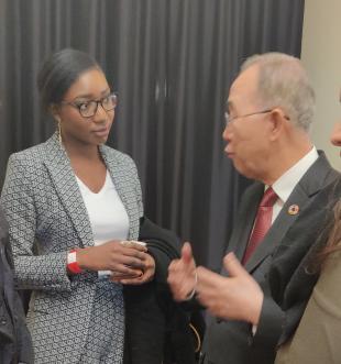 Maty speaking to former UN Secretary-General, Ban Ki-Moon