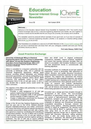 front cover of the IChemE Education Special Interest Group Newsletter
