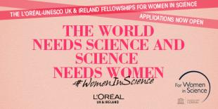 The world needs science and science needs women, L'Oreal Scholarships poster