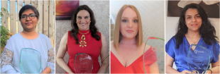 Our WE50 winners (left to right): Dr Dipa Roy; Dr Katherine Dunn; Dr Karen Donaldson; Dr Tayebeh Ameri