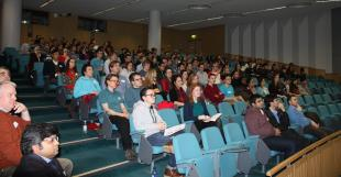 Students, academics and guests within a lecture hall during the Celebrate Chemical Engineering event