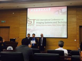 Hancong Wu receiving best student poster award, IBCA2018