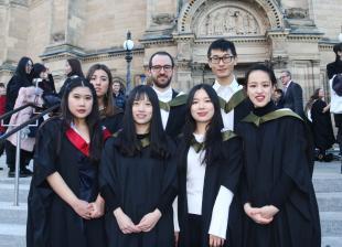 MSc Chemical Engineering graduates celebrate in front of McEwan Hall, University of Edinburgh