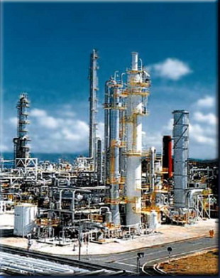 Photograph of power plant with integrated carbon capture