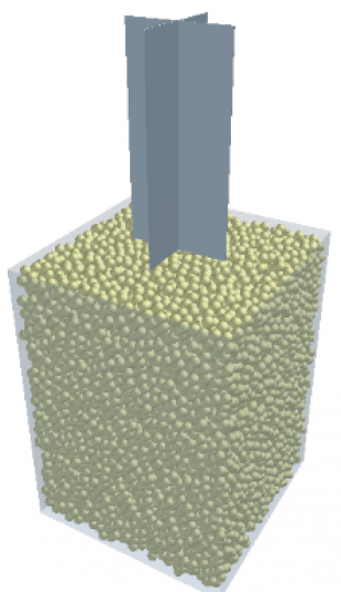 The shear vane test model built with the DEM software EDEM. [Note: the grey colour represents the vane and consists of two perpendicular blades and the rigid solid particles were generated in fixed boundary];