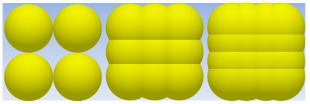 Representing cubical shape particles with different combination of sub-spheres