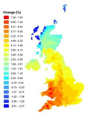 Percentage change in annual mean solar energy resource in the 2050s (medium emissions scenario)