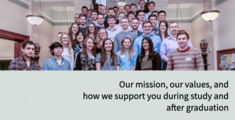 Chemical engineering staff and students on the steps of large staircase within the Sanderson Building, with words - Our mission, our values; how we support you during study and after graduation